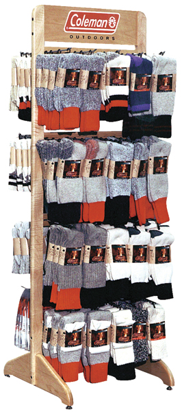 Coleman Sock Point of Purchase Display with Silk Screen Signage. Solid Maple wood.