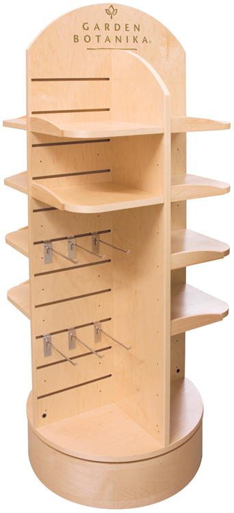 Garden Botanika Spinner POP with Curved base. Rounded corners on shelves.
