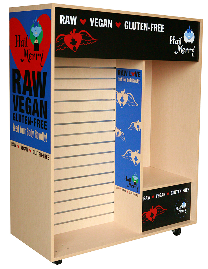 Hail Merry Gluten Free Food Display Point of Purchase unit on casters.