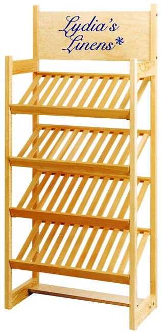 Slatted Shelf POP used for Linens or Bakery