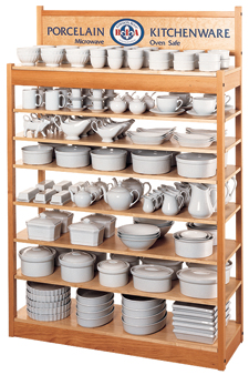 B.I.A. Cordon Bleu Dinnerware Shelving POP Rack.