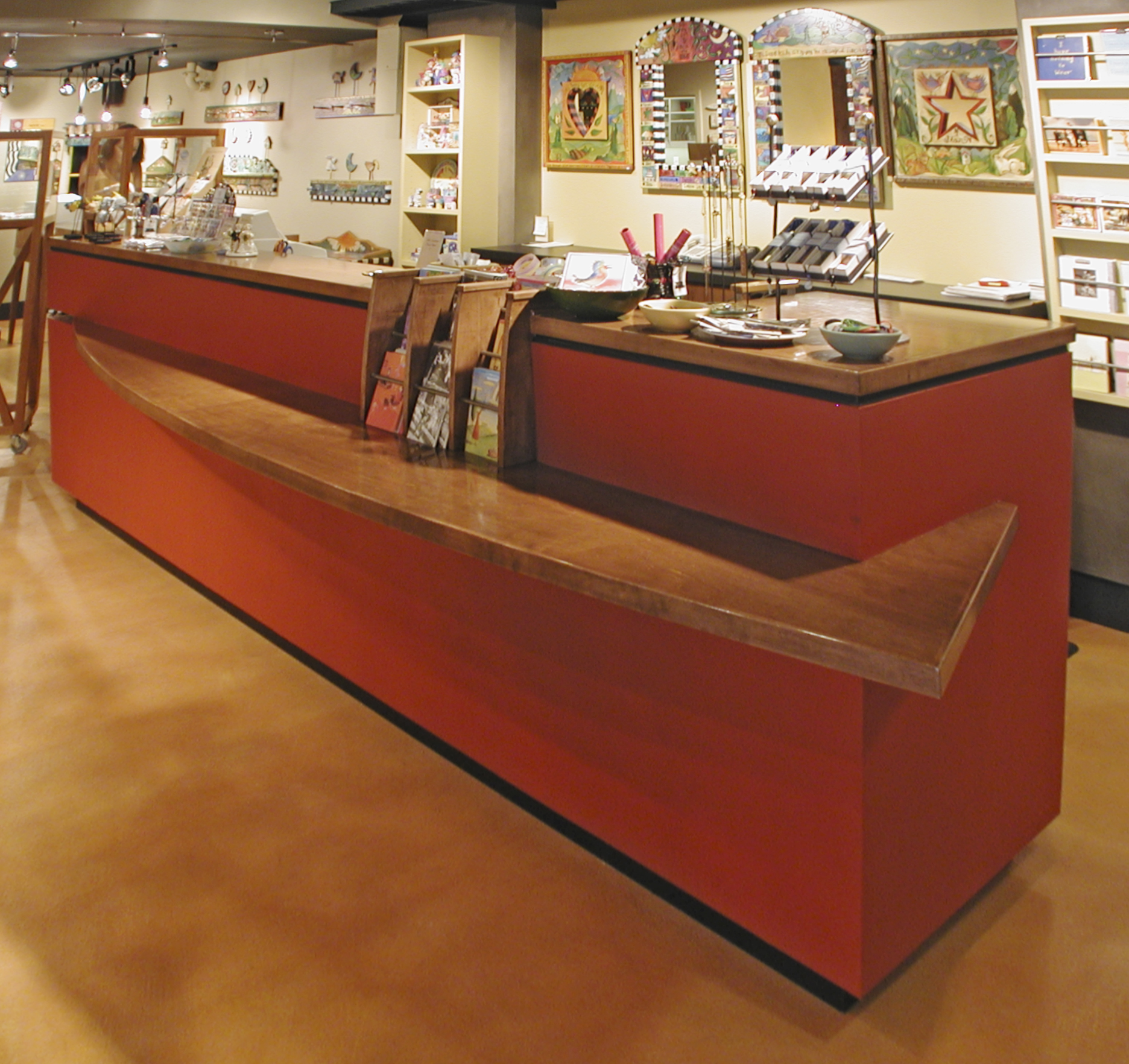 Gridwall Point of Purchase Display with poplar wood frame and sign. Includes Casters